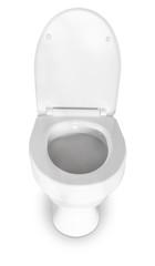 White toilet bowl close-up on a white background.