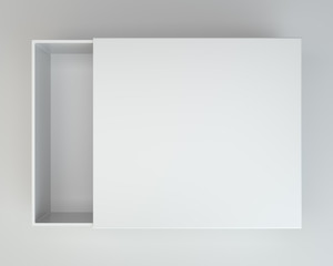 White open box on gray background. 3d rendering