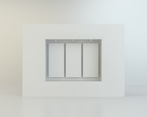 Front view of empty clean showcase. Mock up, 3D Rendering
