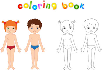 Boy and girl unclothed. Educational coloring book for kids