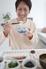 Mature Man Eating Breakfast