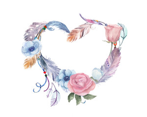 Watercolor floral, feathers heart