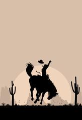 Rodeo cowboy riding wild horse, vector