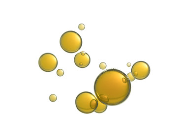 A group of yellow air bubbles soars over a white background