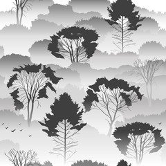 Seamless vector black and white pattern. Top view of an autumn forest with deciduous trees in the fog. About the environment, nature, travel. Mysterious landscape.