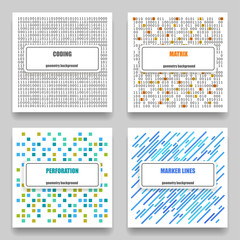 Vector set of four technological geometric templates for cards. The patterns on the theme coding, matrix, perforation, marker lines on white background.