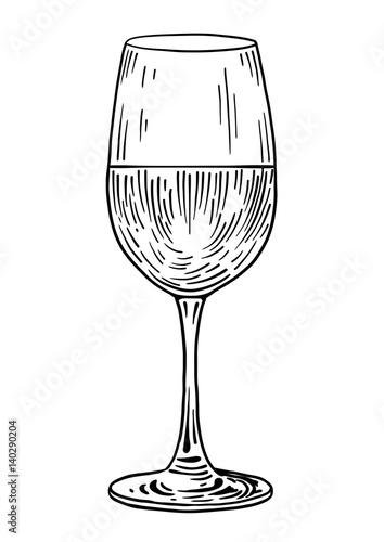 Line Drawing Glasses : Quot wine glass illustration drawing engraving ink line