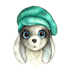 A cute rabbit in a hat. Watercolor illustration