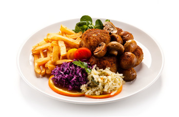 Meatballs wirh french fries