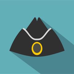 Forage cap icon, flat style