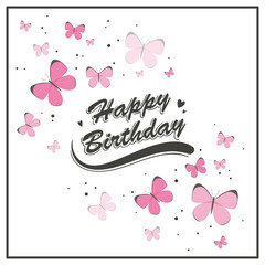 Vector Illustration of a Birthday Greeting Card with Butterflies