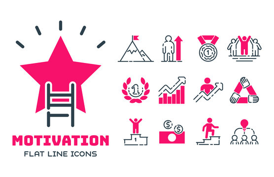 Motivation concept chart pink icon business strategy development design and management leadership teamwork growth creativity office training vector.