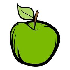Green apple icon cartoon