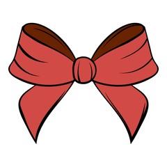 Red bow icon cartoon