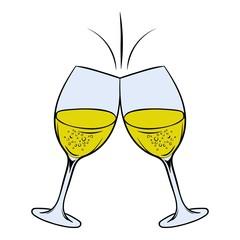 Glasses of white wine icon cartoon