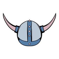 Viking helmet icon cartoon
