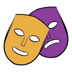 Theater masks icon cartoon