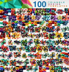 Mega collection of 100 mosaic low poly triangle abstract backgrounds
