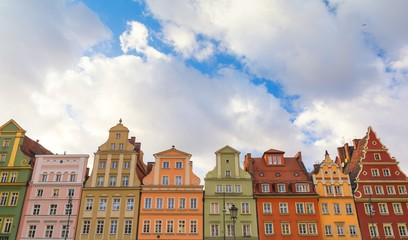 Wall Murals colorful houses on historic market square in Wroclaw, Poland