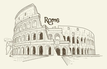 Handdrawn sketch of the Colosseum in Rome