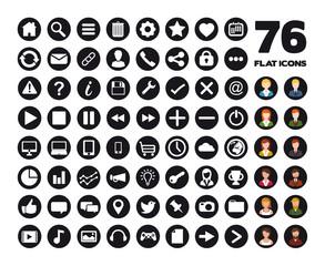 76 web flat icons