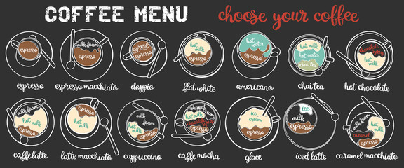 Coffee menu. Coffee set. Latte, cappuccino, espresso. Hot and cold drinks. Isolated vector objects on white background.