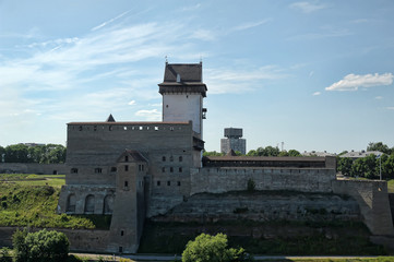 View of Narva Castle with tall Herman's tower and tree. Narva. Estonia