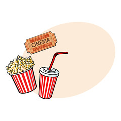 Cinema objects - popcorn bucket, soda water and retro style ticket, sketch vector illustration with place for text. Typical movie attributes - popcorn, soda water, cinema ticket