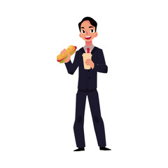 Young businessman in business suit eating sandwich, holding coffee cup, lunch break concept, cartoon vector illustration isolated on white background. Businessman, employee eating lunch on the go