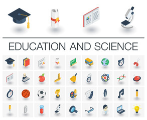 Isometric flat icon set. 3d vector colorful illustration with education, learning, think symbols. Book, microscope, calculator, pen, elearning, teacher colorful pictogram Isolated on white