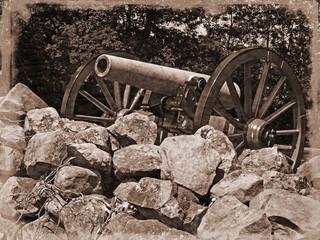 Fototapete - Simulated old photo of Gettysburg Battlefield