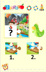 Jigsaw puzzle pieces for kids in teh farm
