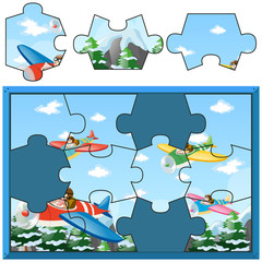 Jigsaw puzzle with kids flying planes