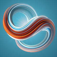 Red and blue colored twisted shape. Computer generated abstract geometric 3D render illustration