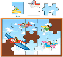 Jigsaw puzzle pieces of children riding on planes