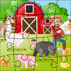 Jigsaw puzzle game with farmer and animals