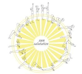 Yoga postures silhouette.