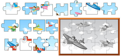 Jigsaw puzzle game with airplanes in sky