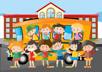 Many students riding on schoolbus to school