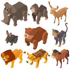 Many wild animals in 3D design