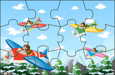 Jigsaw puzzle game with pilots flying jet