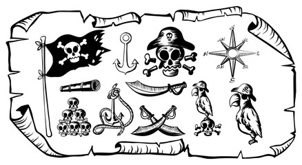 Treasure map with many pirate symbols
