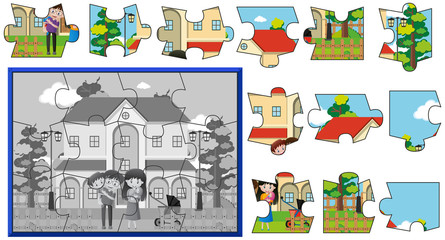 Jigsaw pieces of family at home