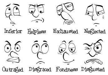 Eight different emotions of human being