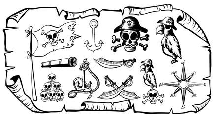 Treasure map with pirate symbols