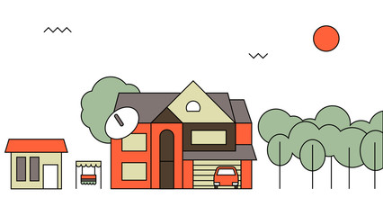 Traditional family home.Flat design vector concept