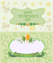 St. Patrick's Day Greeting cards in pastel colors