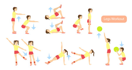 Legs workout set on white background. Exercises for girls. Healthcare for children.
