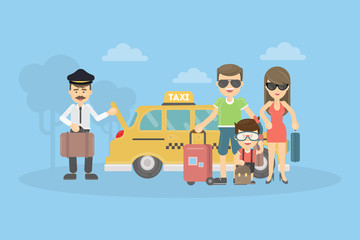Taxi for family. People on the vacation. Summer time.