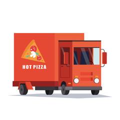 Fast Pizza Delivery Car, Van.Food truck. Flat vector